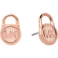 Ladies Michael Kors Rose Gold Plated Logo Stud Earrings MKJ6812791