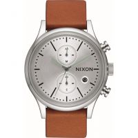 homme Nixon The Station Chrono Leather Chronograph Watch A1163-2853
