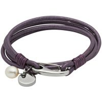 Ladies Unique & Co Stainless Steel Berry Leather Bracelet
