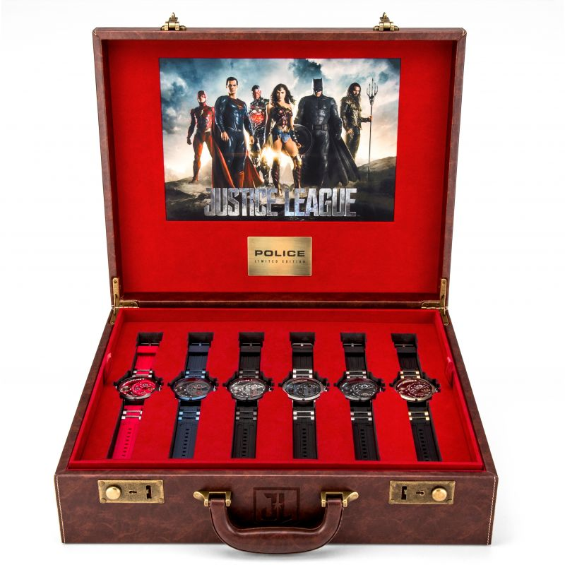 Mens Police Justice League Limited Edition Heroes Box Set Watch