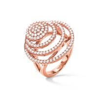 Ladies Folli Follie Rose Gold Plated Sterling Silver Cyclos CZ Ring Size O.5