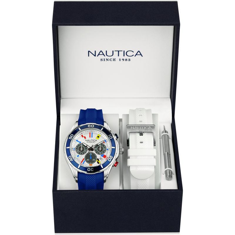 Mens Nautica NST07 Flag Box Set Chronograph Watch