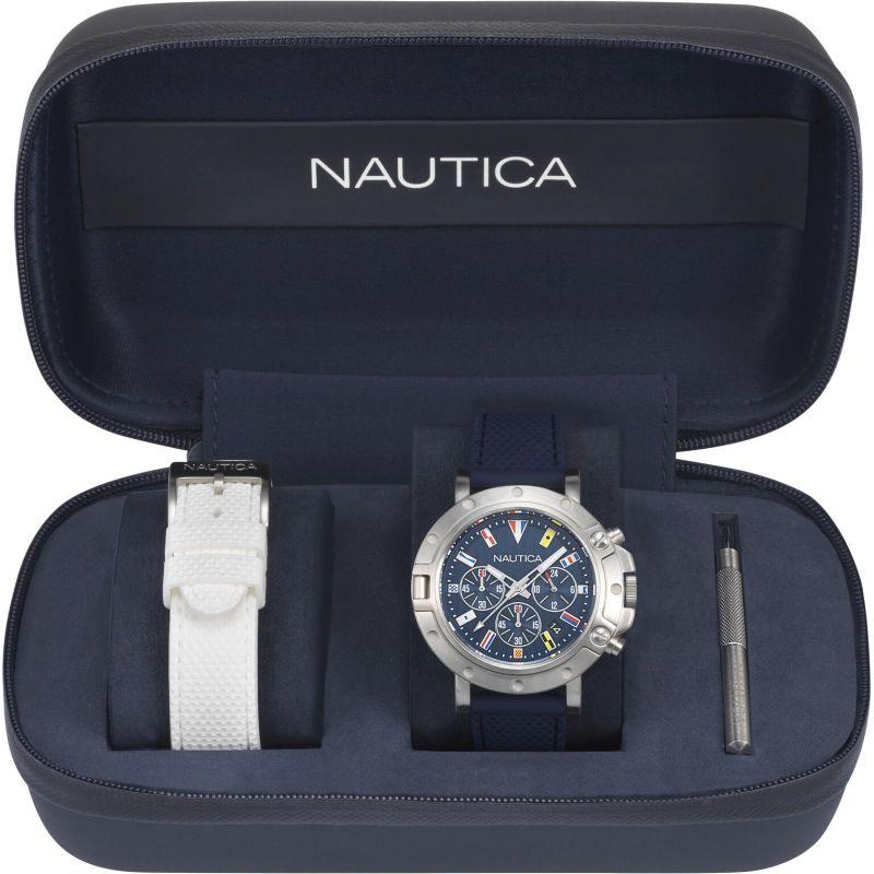 Mens Nautica Porthole Flag Box Set Chronograph Watch