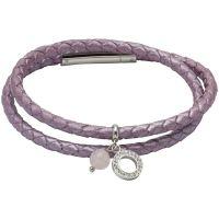 Unique & Co Leather and Rose Quartz Charm Bracelet JEWEL B389FP/19CM