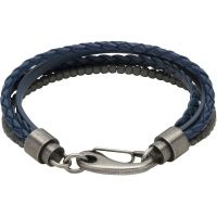 Unique & Co Leather and Haematite Multi Strand Bracelet JEWEL B387BLUE/21CM
