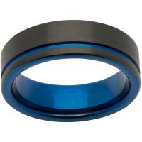 Unique & Co 7mm Tungsten Carbide with Blue and Black IP Size S JEWEL TUR-58-60
