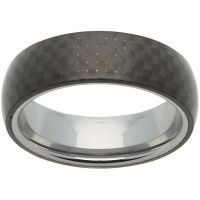 Herren Unique 7mm Tungsten Carbide und Carbon Fibre Ring Größe S