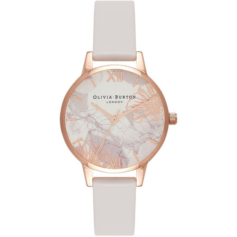 Olivia Burton Abstract Florals Blush & Rose Gold Damklocka Vit OB16VM12