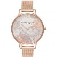 Olivia Burton Abstract Florals Rose Gold Mesh Dameshorloge Rose OB16VM15