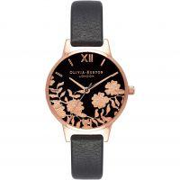 Ladies Olivia Burton Lace Detail Black & Rose Gold Watch
