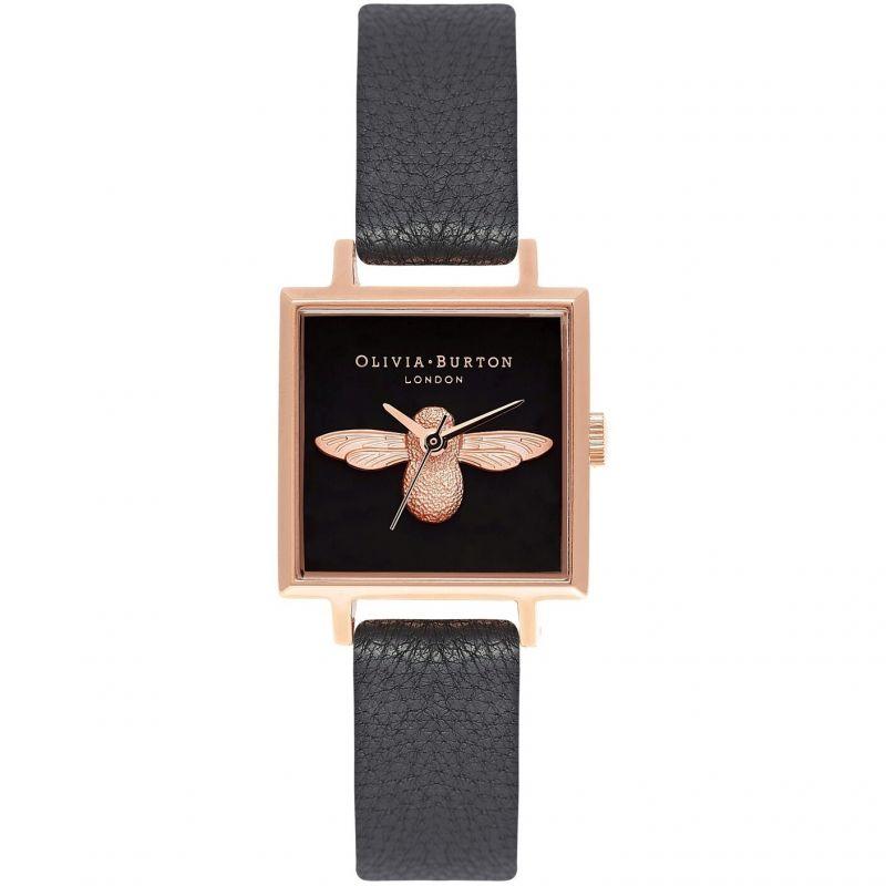 Damen Olivia Burton Square Dial 3D Bee Black & Rose Gold Watch OB16AM128