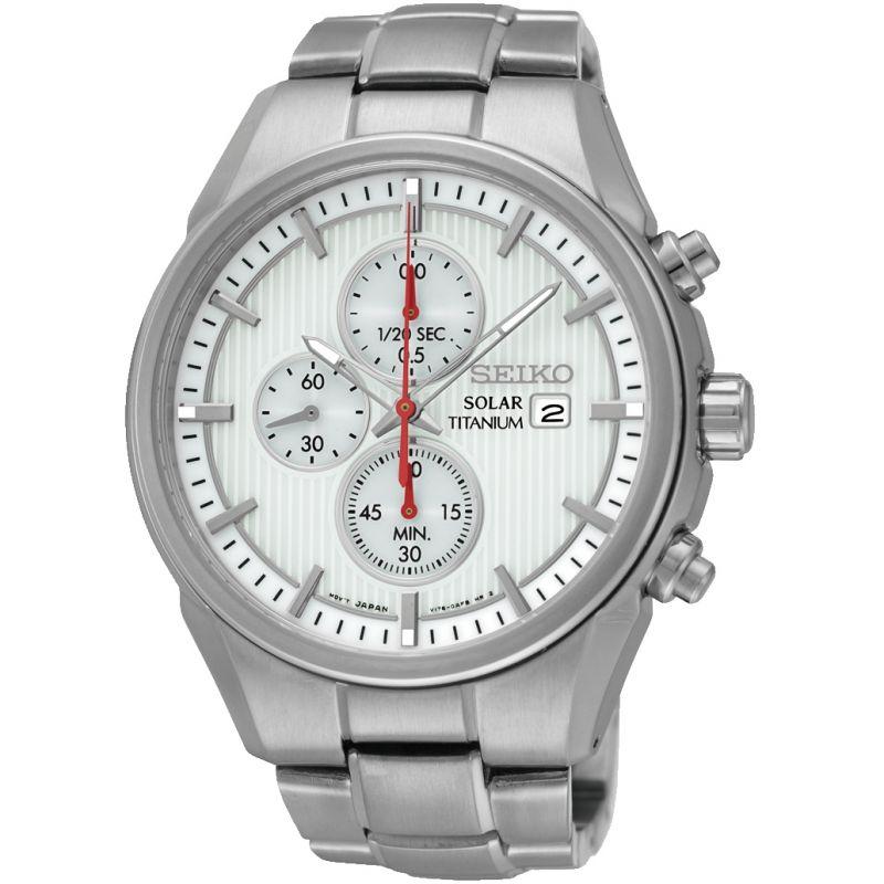 Mens Seiko Sports Titanium Chronograph Solar Powered Watch