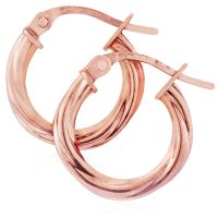 Rose Gold Twisted Kreolen Ohrringe