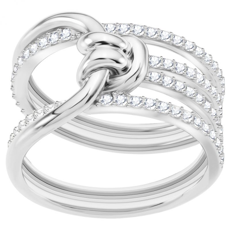 Ladies Swarovski Silver Plated Lifelong Ring Size N