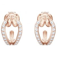 Ladies Swarovski Rose Gold Plated Lifelong Small Hoop Earrings