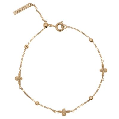 Ladies Olivia Burton Gold Plated Moulded Bee and Ball Chain Bracelet OBJ16AMB18