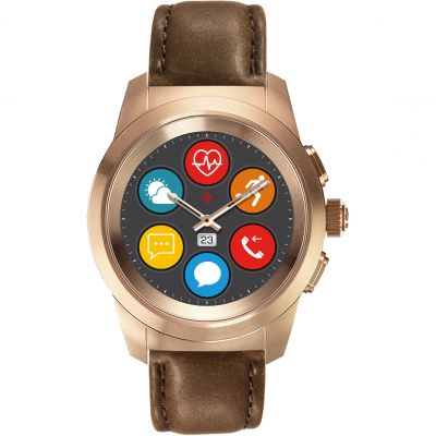 MyKronoz ZeTime Premium Bluetooth Smartwatch Rose Gold with Brown Leather Petite 122906
