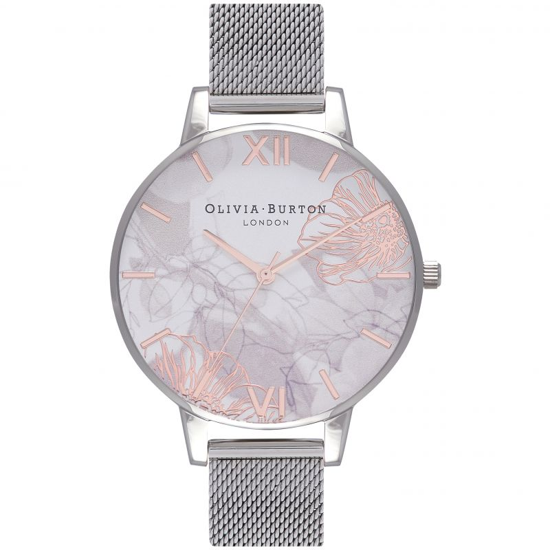 Abstract Florals Silver Mesh Watch