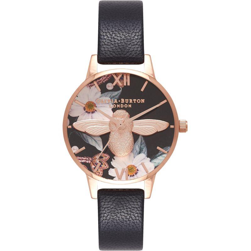 Bejewelled Florals Rose Gold & Black Watch