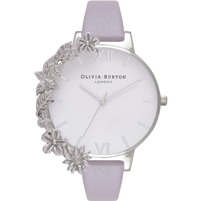 White Dial Big Dial Silver & Grey Lilac Watch
