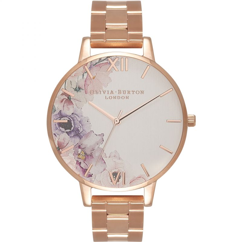 Watercolour Florals Silver & Rose Gold Watch