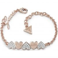 Ladies Guess Rose Gold Plated Heart Bouquet Bracelet UBB85102-L