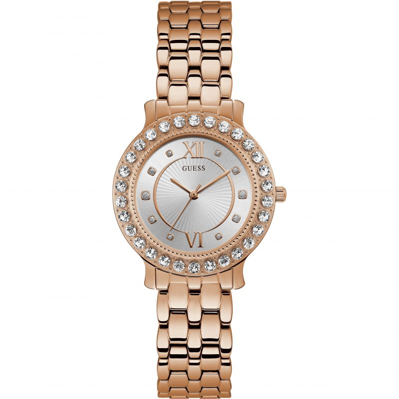 GUESS Ladies rose gold case with crystals