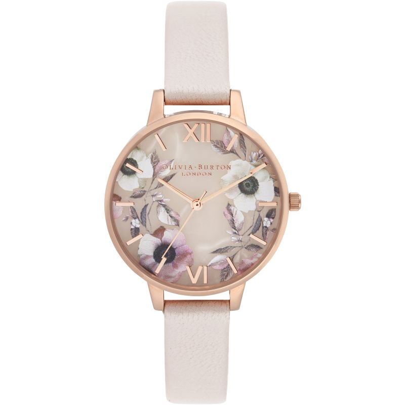 Semi Precious Rose Quartz, Pearl Pink & Rose Gold Watch
