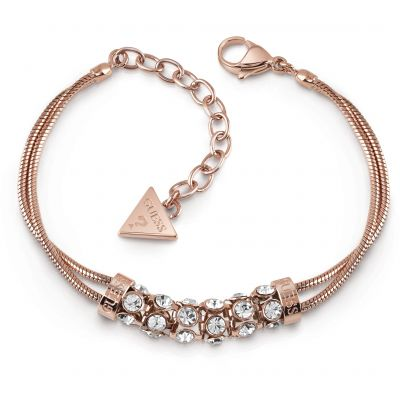 GUESS rose gold plated double bracelet with centred pavè Swarovski? crystal bar.