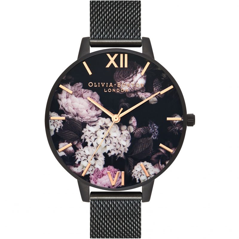 Signature Florals Rose Gold & Ip Black Watch
