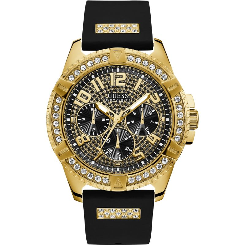 GUESS Gents gold watch with crystals, black crystal-covered dial and black silicone strap.