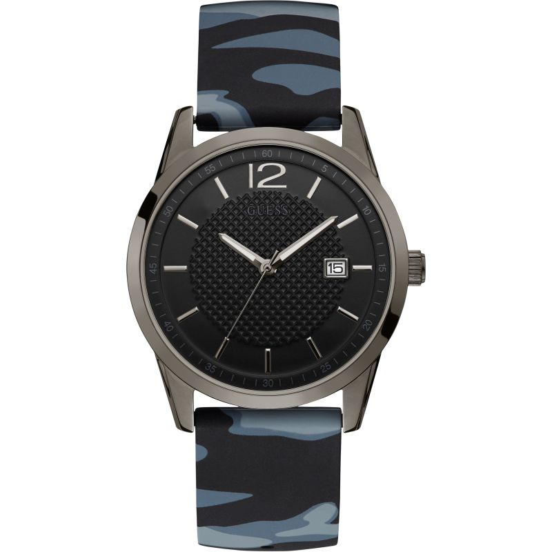 GUESS Gents gunmetal watch with black dial and camo strap.