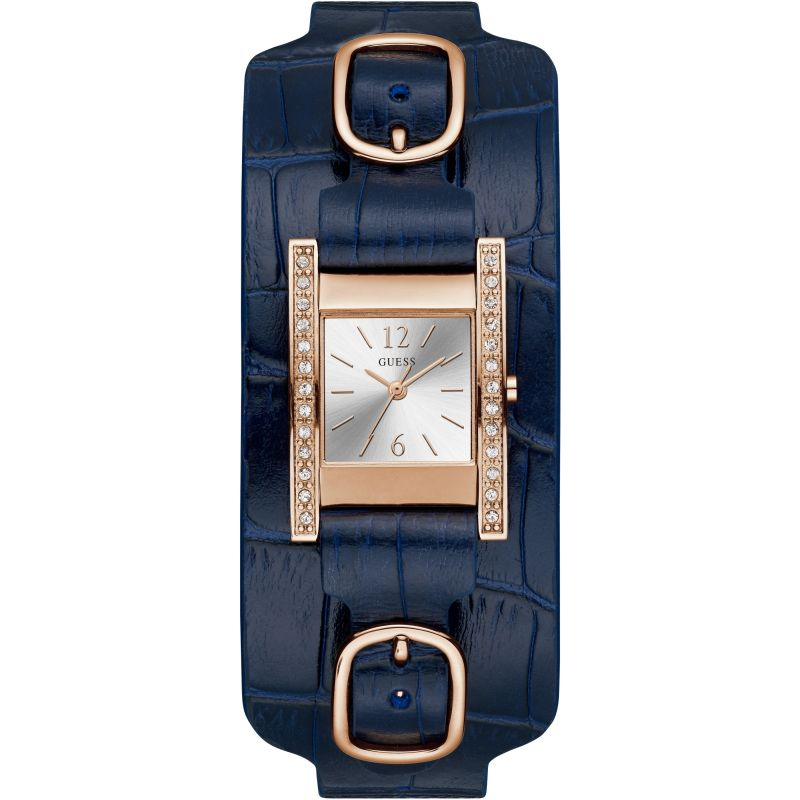 GUESS Ladies rose gold watch with crystals, silver dial and blue croco leather cuff.