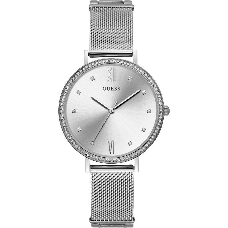 GUESS Ladies silver watch with silver dial and mesh bracelet