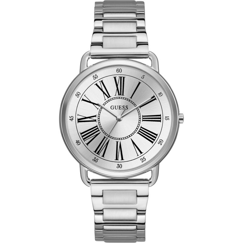 GUESS Ladies silver watch with silver roman numeral dial.