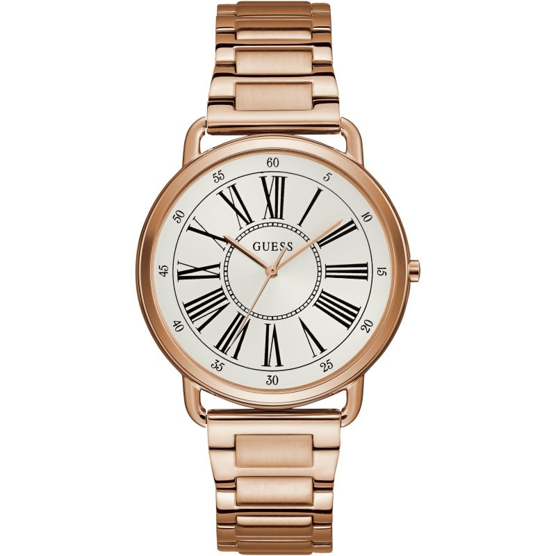 GUESS Ladies rose gold watch with white roman numeral dial.