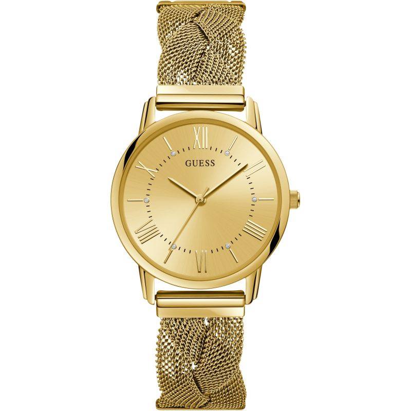 GUESS Ladies gold watch with braided mesh bracelet.