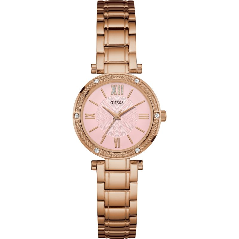 GUESS Ladies rose gold watch with pink dial.