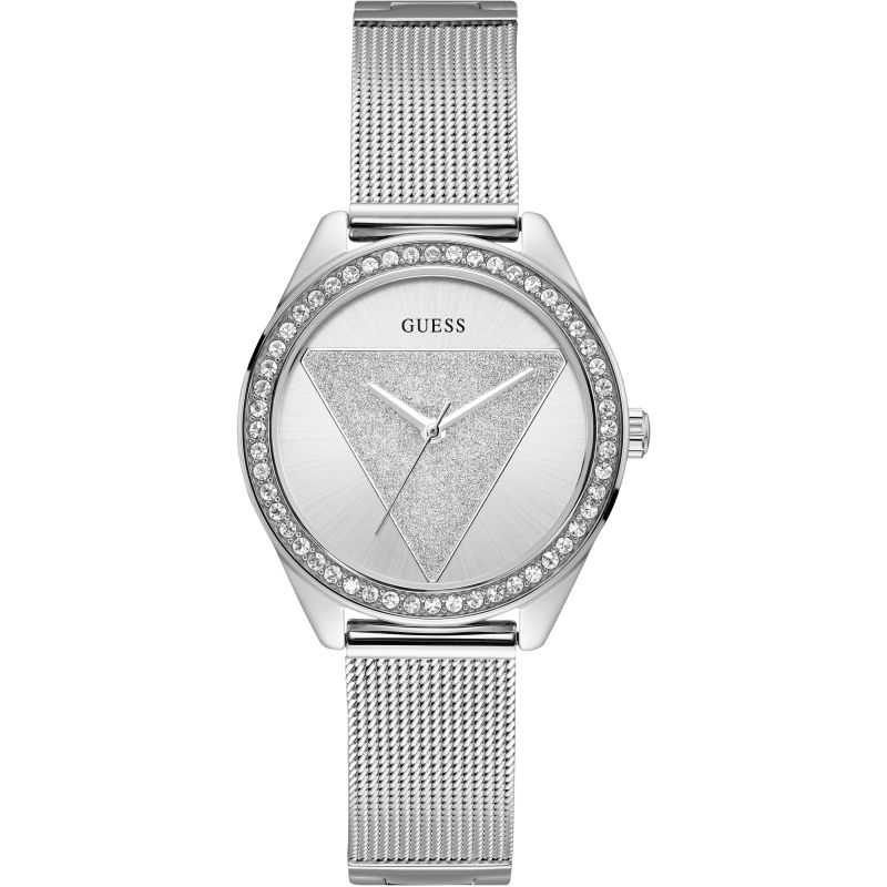 GUESS Ladies silver watch with silver glitz logo dial.