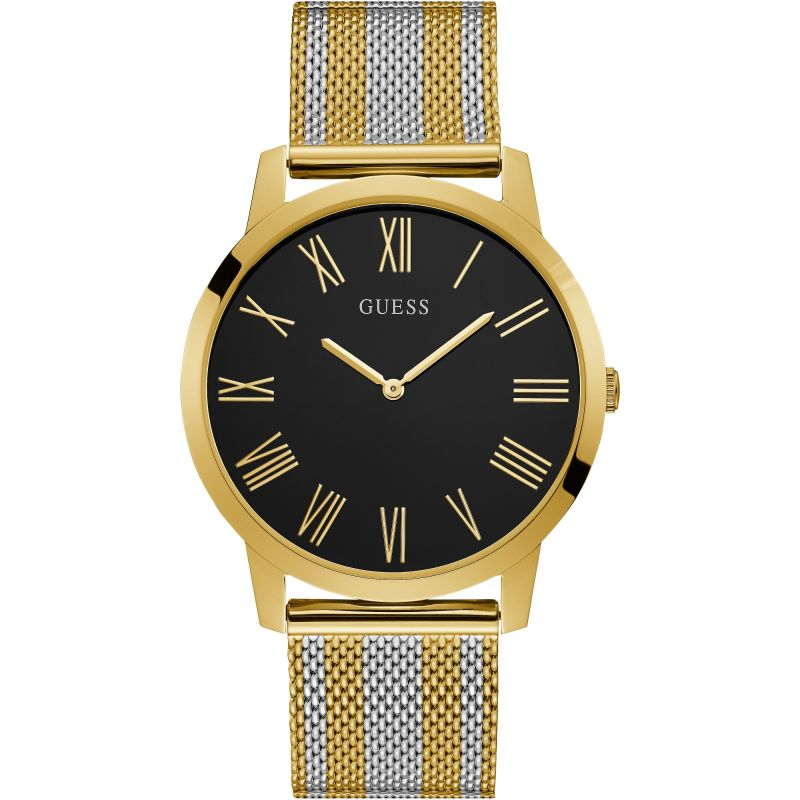GUESS Gents gold watch with black dial and two tone mesh bracelet.