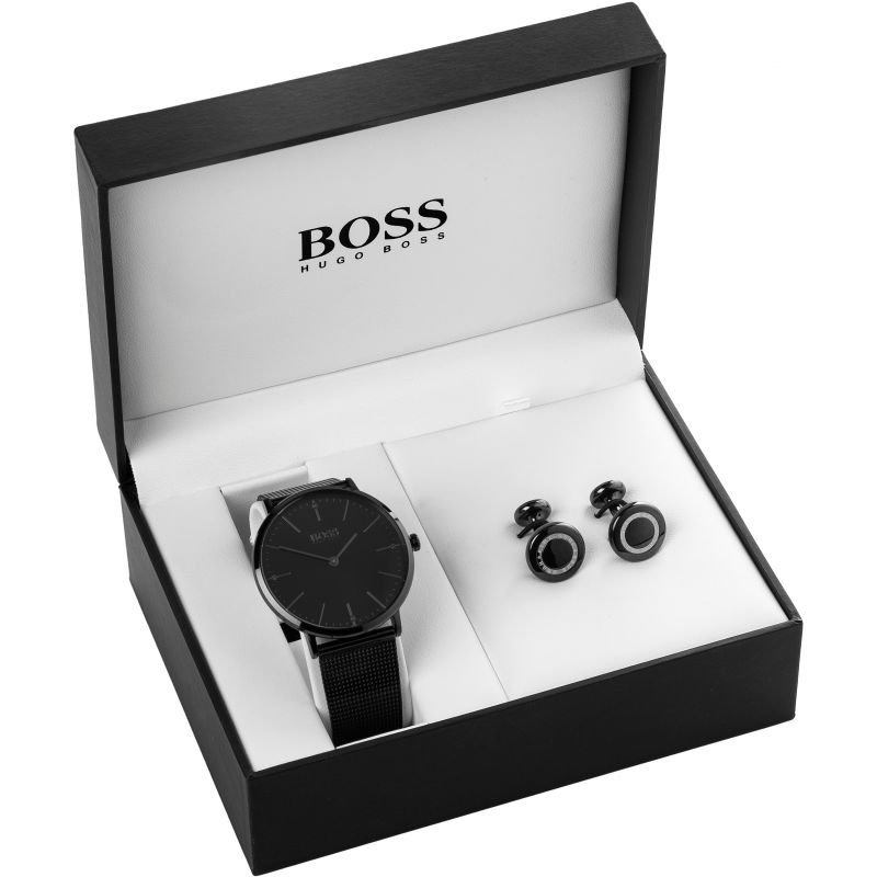 Mens Hugo Boss Cufflink Box Set Watch 157BLACKIPWCUFFLINKS