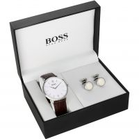Hugo Boss Cufflink Box Set Herrklocka Brun 1570069