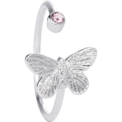 Bejewelled Butterfly Silver Plated Ring OBJ16MBR02
