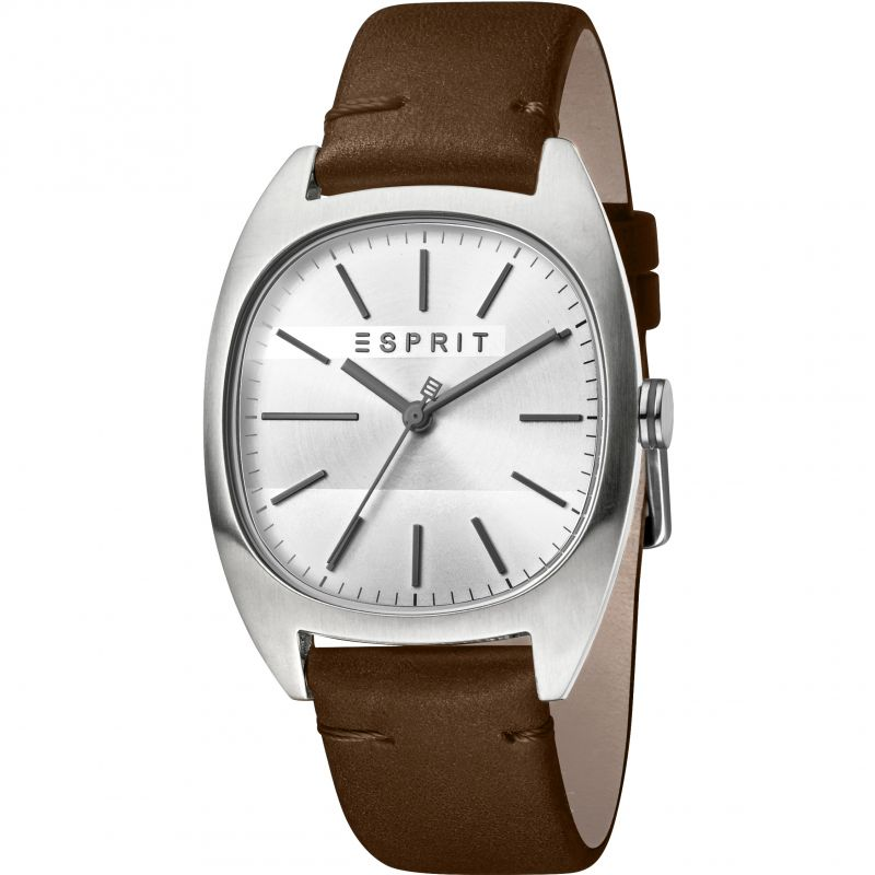 Esprit Infinity Men's Watch featuring a Dark Brown Leather Strap and Silver Dial