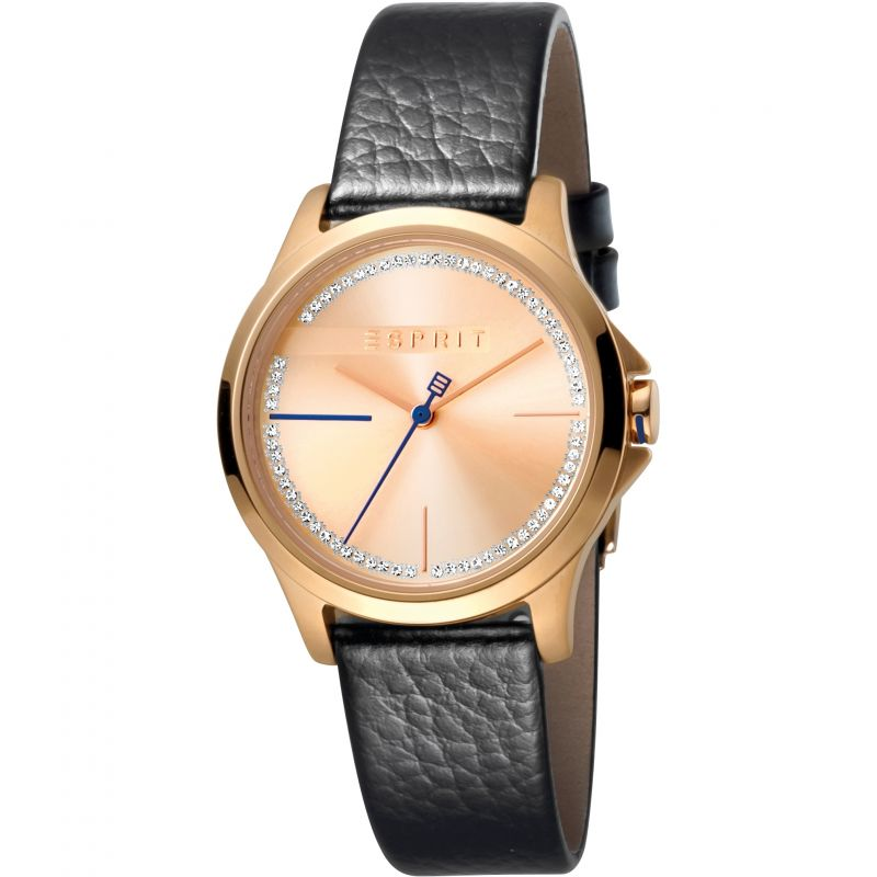 Esprit Joy Women's Watch featuring a Black Leather Strap and Rose Gold With Stones Dial
