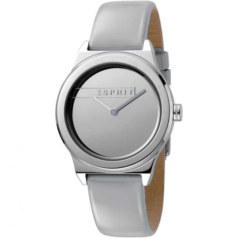 Esprit Magnolia Women's Watch featuring a Light Grey Patent Leather Strap and Silver Mirror Dial