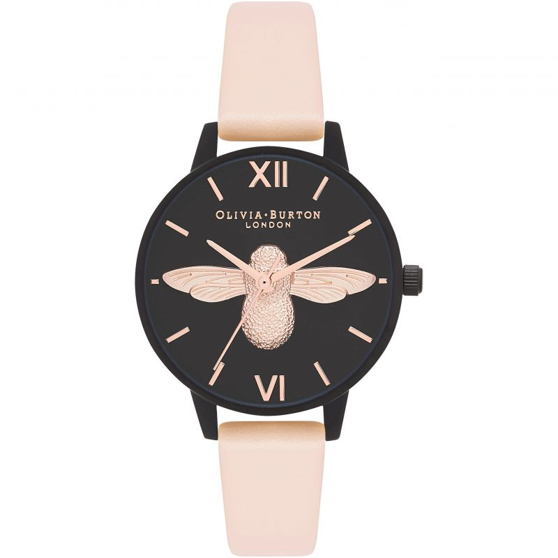 After Dark Ip Black And Rose Gold & Nude Peach Watch