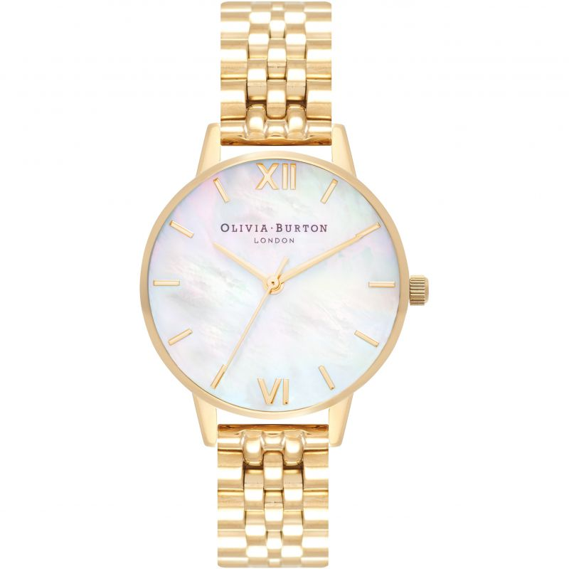 Mother Of Pearl Midi Dial White & Gold Bracelet Watch