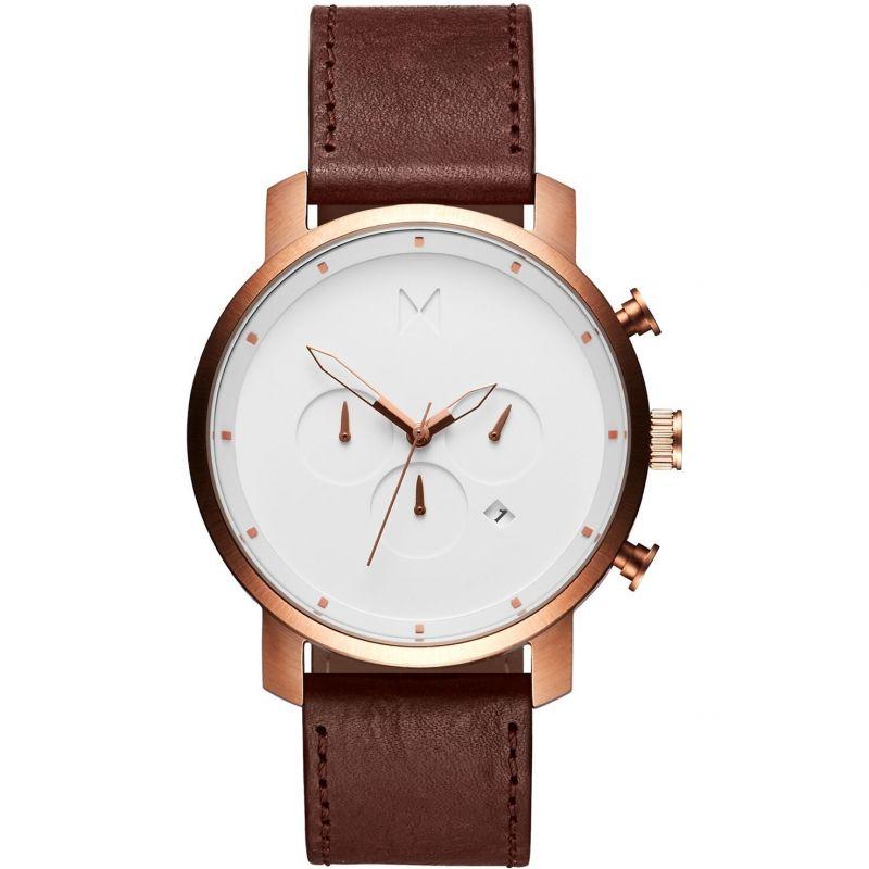 MVMT Rose Gold Natural Tan Chrono Watch