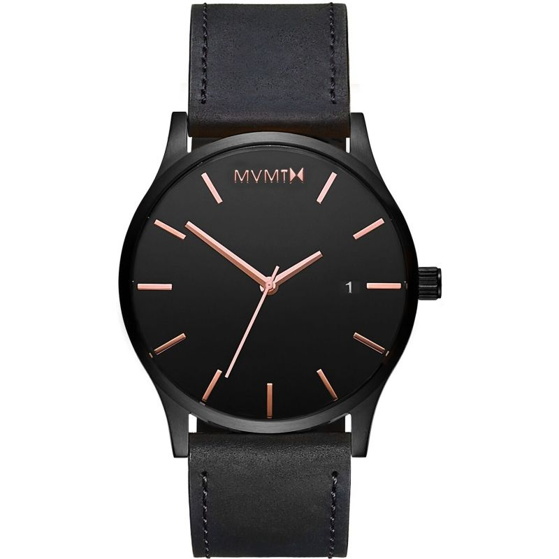 MVMT Black Rose Leather Classic Watch